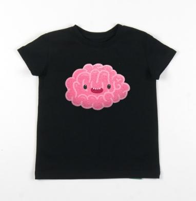 Детская футболка черная хлопок с лайкрой 140гр - Happy_brain