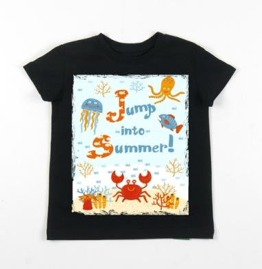 Детская футболка черная хлопок с лайкрой 140гр - Прыжок в лето
