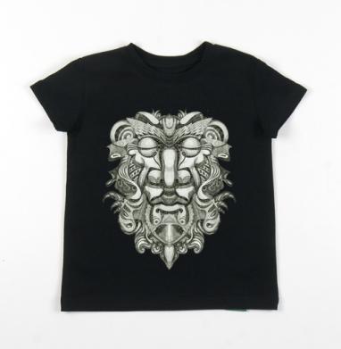 Детская футболка черная хлопок с лайкрой 140гр - Relax power