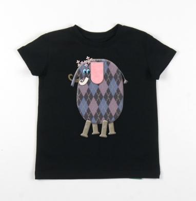 Детская футболка черная хлопок с лайкрой 140гр - Счастливый слоник