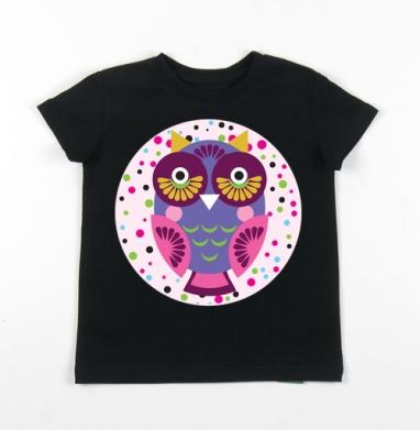 Детская футболка черная хлопок с лайкрой 140гр - Сова