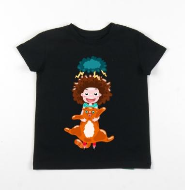 Детская футболка черная хлопок с лайкрой 140гр - Storm cat