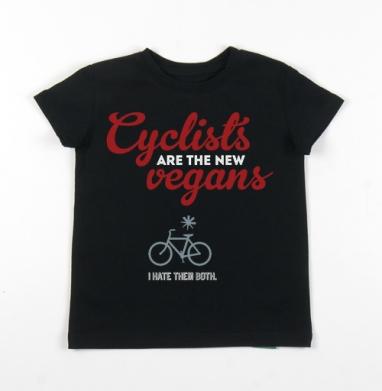 Детская футболка черная хлопок с лайкрой 140гр - Велосипедисты - новые веганы