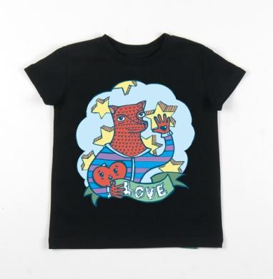 Детская футболка черная хлопок с лайкрой 140гр - Волчик