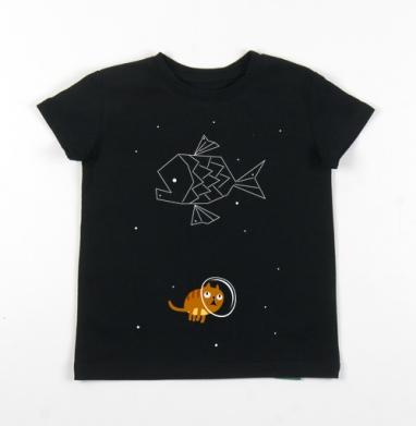 Детская футболка черная хлопок с лайкрой 140гр - Звездный кот
