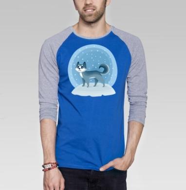 Зимняя хаски - Футболка мужская с длинным рукавом синий / серый меланж, Мило