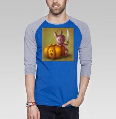 Зайчик и тыква - Футболка мужская с длинным рукавом синий / серый меланж, Осень
