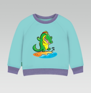 Cвитшот Детский ментол 340гр теплый - Крокодил на Ямайке