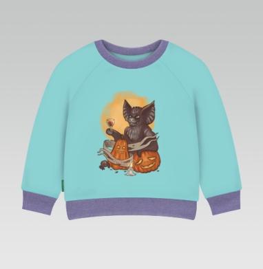 Cвитшот Детский ментол 340гр теплый - Мышь и тыквы