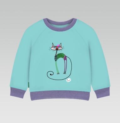 Cвитшот Детский ментол 340гр теплый - Кошка-хипстер
