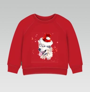 Cвитшот Детский ярко-красный 240гр, тонкий - Улыбающаяся собака в новогодней шапке