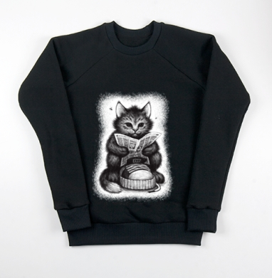 Кот в ботинке, Свитшот мужской черный 340гр, теплый