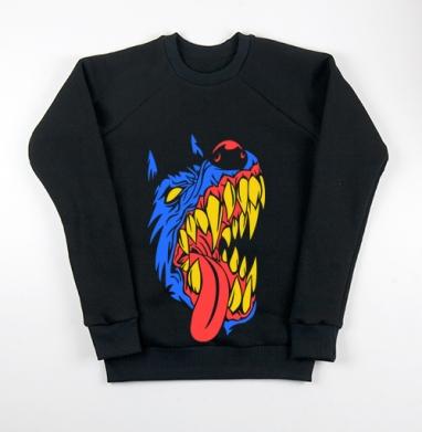 Морда злой собаки., Свитшот мужской черный 340гр, теплый