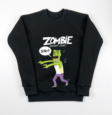 Свитшот мужской черный 340гр, теплый - Zombie - Mutant Zone!