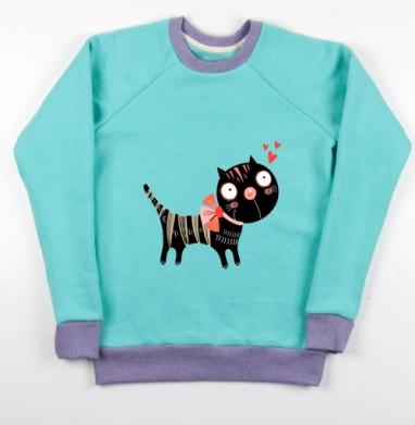 Cвитшот женский ментол 340гр, теплый - Влюблённые коты