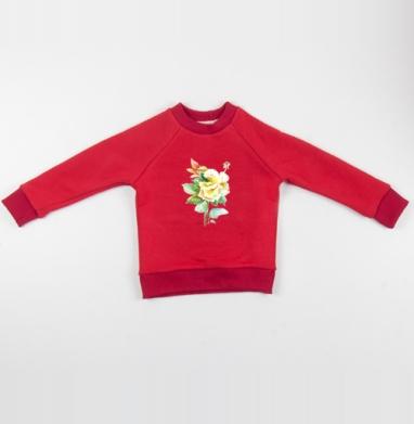 Cвитшот Детский красный 340гр, теплый - Акварельная роза