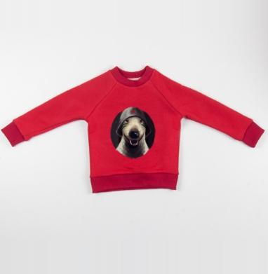 Cвитшот Детский красный 340гр, теплый - Бультерьер в каске