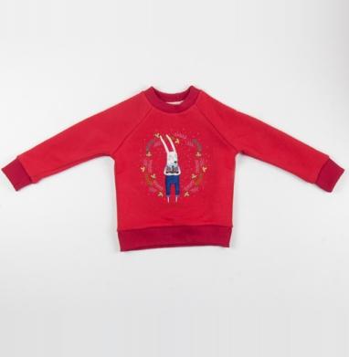 Cвитшот Детский красный 340гр, теплый - Клуб Высокая талия