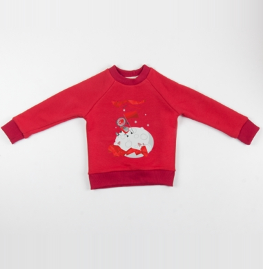 Cвитшот Детский красный 340гр, теплый - Конярик космонавт