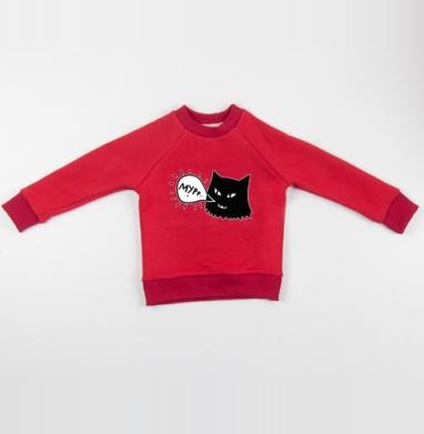 Cвитшот Детский красный 340гр, теплый - Кошачья радость (жен.)