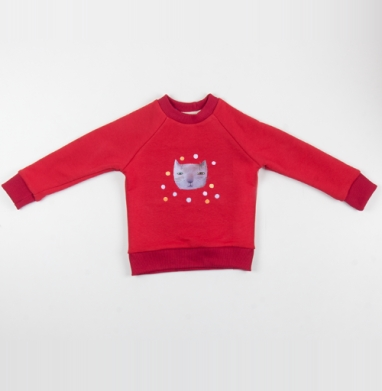 Котик и шары - Cвитшот Детский красный 340гр, теплый, Популярные