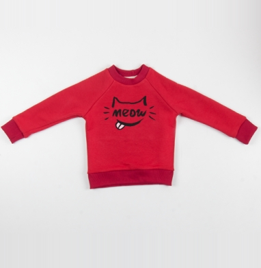 Cвитшот Детский красный 340гр, теплый - Котяра мяу