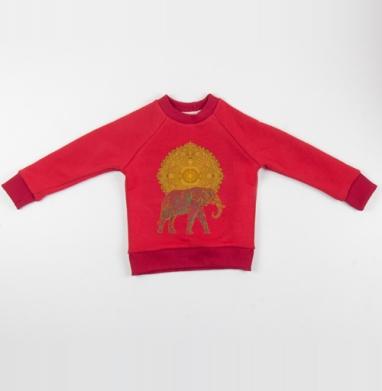 Cвитшот Детский красный 340гр, теплый - Слон, несущий Солнце