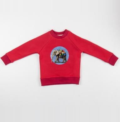 Cвитшот Детский красный 340гр, теплый - Слон Рубика