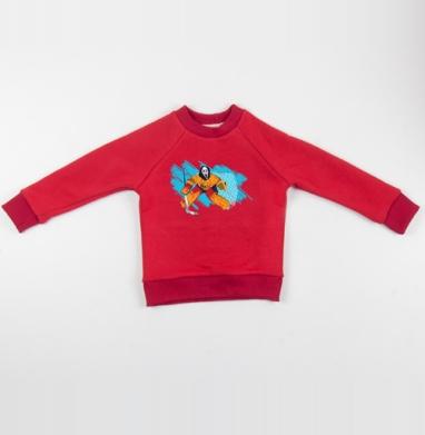 Cвитшот Детский красный 340гр, теплый - Трус не играет в хоккей