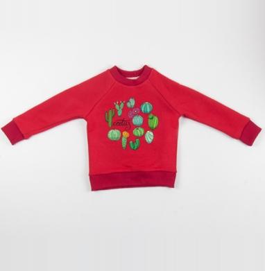 Cвитшот Детский красный 340гр, теплый - Виды кактусов