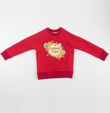 Cвитшот Детский красный 340гр, теплый - Время лета