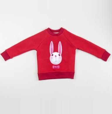 Cвитшот Детский красный 340гр, теплый - Зая с бабочкой