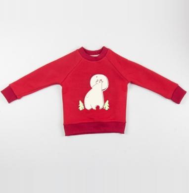 Cвитшот Детский красный 340гр, теплый - Зимняя...