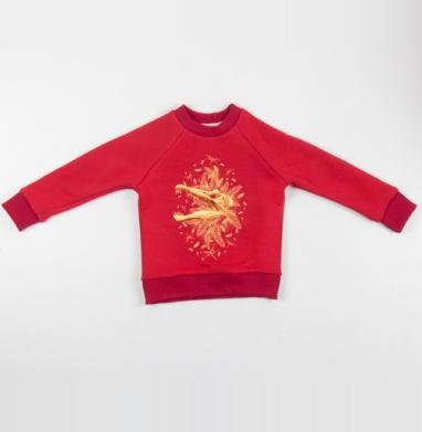 Cвитшот Детский красный 340гр, теплый - Золото Юрского Периода