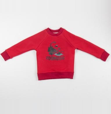 Cвитшот Детский красный 340гр, теплый - ZOOMUSIC