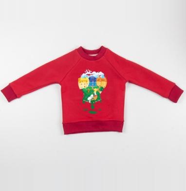 Cвитшот Детский красный 340гр, теплый - Цветной мир