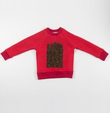 Cвитшот Детский красный 340гр, теплый - «Дружная семья»