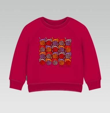 Cвитшот Детский темно-красный 340гр, теплый - I Love cats