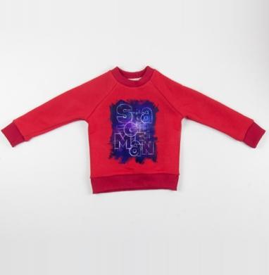 Cвитшот Детский красный 340гр, теплый - Spaceman