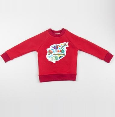 Cвитшот Детский красный 340гр, теплый -