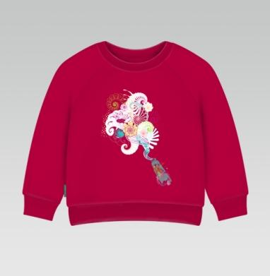Cвитшот Детский темно-красный 340гр, теплый - Creative tube