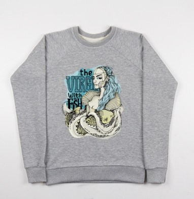 Virgin with a fish - Купить мужские свитшоты морские  в Москве, цена мужских свитшотов морских   с прикольными принтами - магазин дизайнерской одежды MaryJane