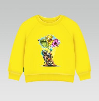 Cвитшот Детский желтый 240гр, тонкая - Охотник за вирусами