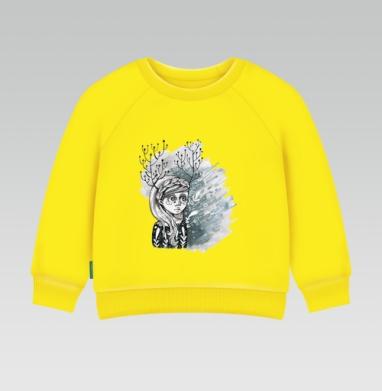 Cвитшот Детский желтый 240гр, тонкая - Серая весна