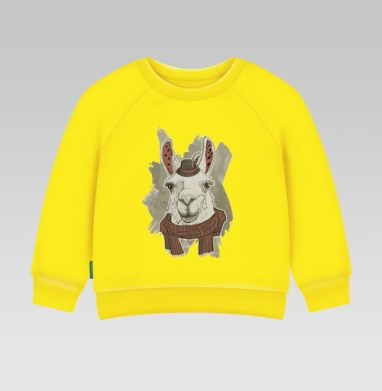 Cвитшот Детский желтый 240гр, тонкая - Бэдэс лама