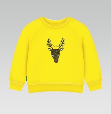 Cвитшот Детский желтый 240гр, тонкая - Christmas deer
