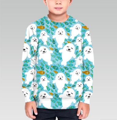 Cвитшот детский без капюшона (полная запечатка) - Белые тюлени, рыба и вода