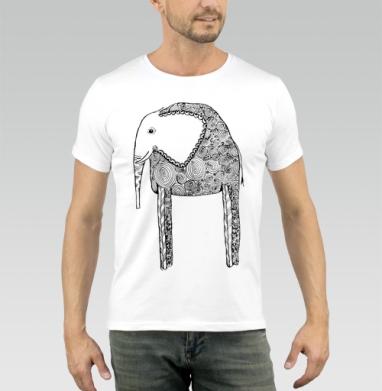 Черно-белый слон, Футболка мужская белая 160гр