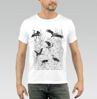 Черные журавли, Футболка мужская белая 180гр