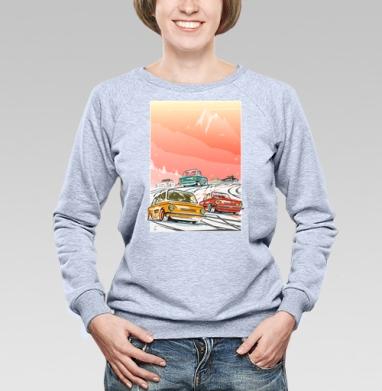 Ралли винтаж зимнее утро - Купить женские свитшоты с автомобилями в Москве, цена женских свитшотов с автомобилями  с прикольными принтами - магазин дизайнерской одежды MaryJane